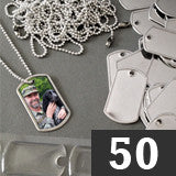 50 Mini Photo Dog Tag Supplies Pack