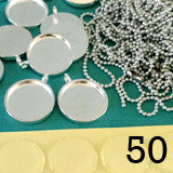 50 Pack 3/4 Inch Silver Photo Pendants Supply Pack w/ Self Adhesive Covers