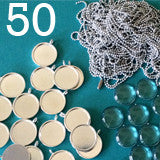 50 Pack 3/4 Inch Round Silver Photo Pendants Supply Pack  w/ Glass & Mini Ball Chains