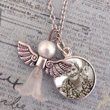 Mini Memorial Angel Photo Necklace Set
