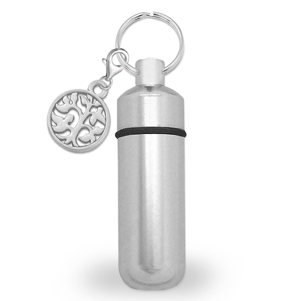 Memorial Ashes Holder Urn Vial Key Chain and Tree of Life Charm