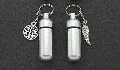 Set of 2 Memorial Funeral Ashes Holder Urn Vial Key Chains w/ Clip on Charms