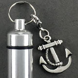 Anchor Boat Sailor Charm Memorial Ashes Holder Urn Vial Key Chain Photo Jewelry