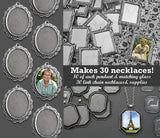 30 Pack Photo Jewelry Elegant Edged Pendants Variety Home Business Kit - Photo Jewelry Making
