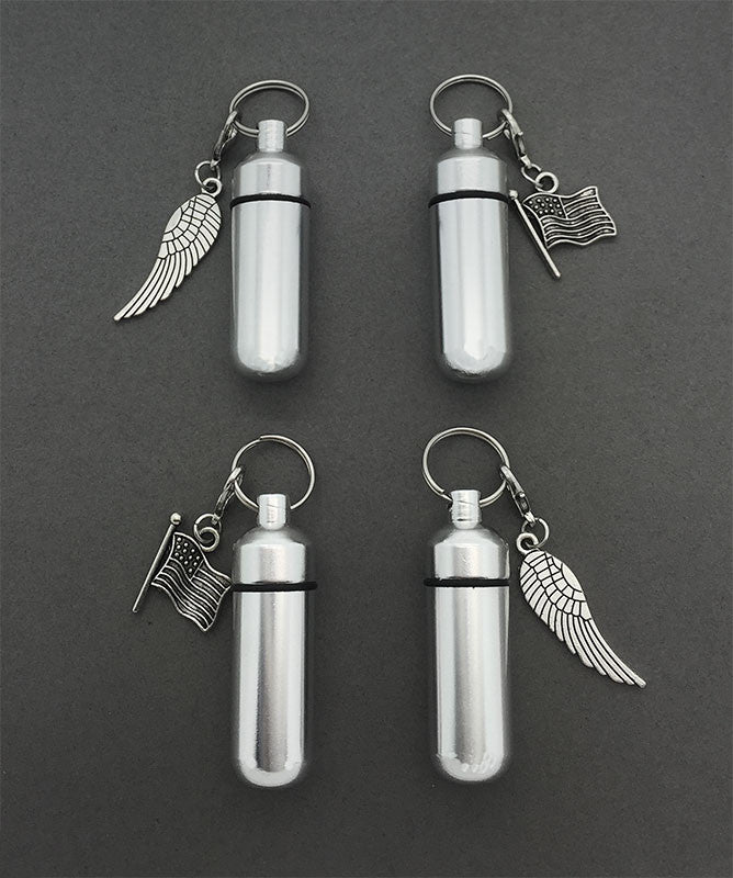 In Memory of Veterans Set of 4 Funeral Ashes Holder Urn Vial Key Chains w/ Clip on Charms Photo Jewelry