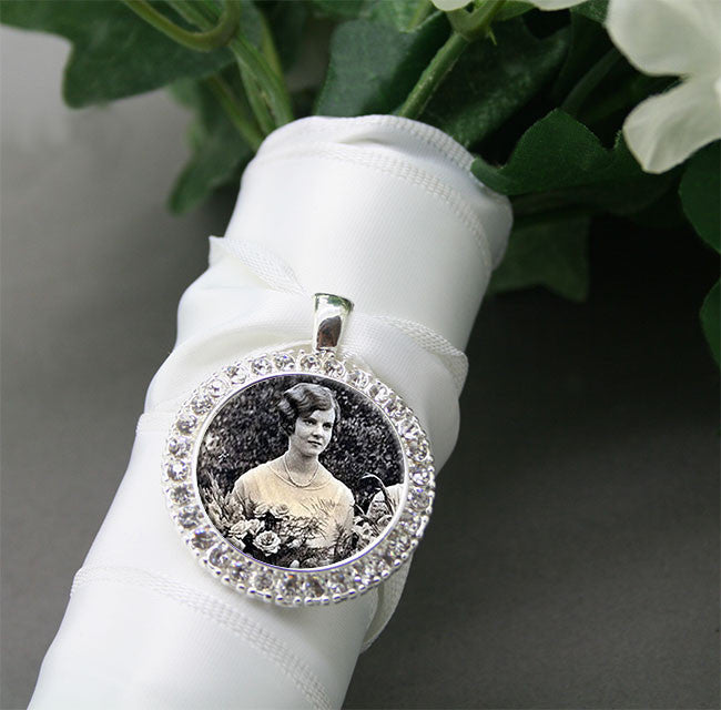 Silver Rhinestone Wedding Bouquet Photo Charm - Photo Jewelry Making