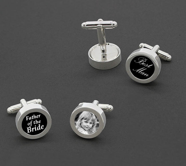 Easy Change Circle Photo Cufflink Blanks 1 Pair