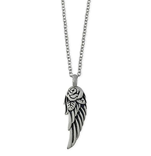 Rose Angel Wing Memorial Ashes Holder Urn Necklace Pendant w/ Link Chain
