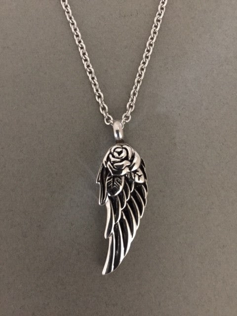 Rose Angel Wing Memorial Ashes Holder Urn Necklace Pendant w/ Link Chain - Photo Jewelry Making