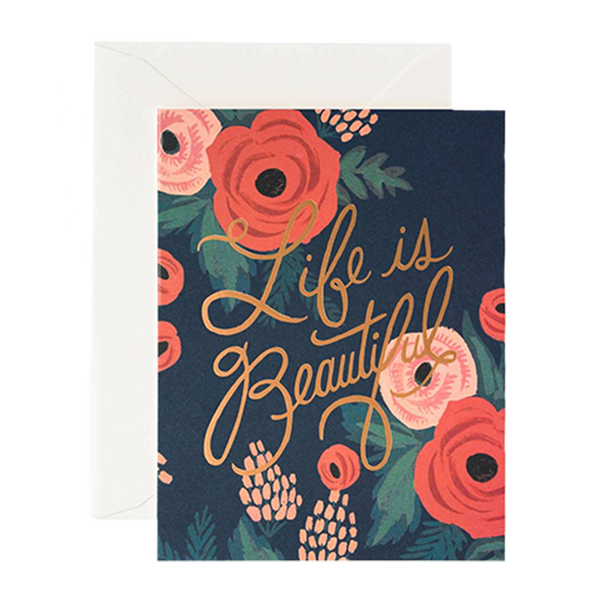 Life is Beautiful Rose Gold Foil Card