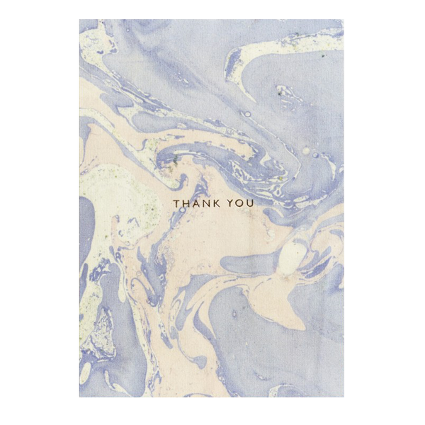 Blue Marbled Thank You Card