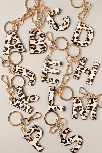 Double Sided Animal Print Initial Keychain