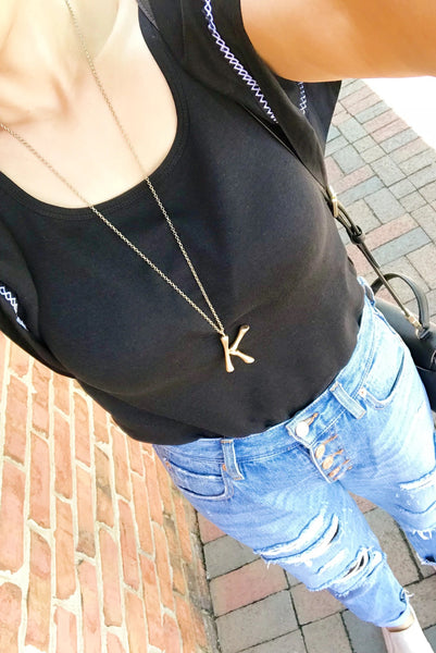 Gold Bamboo Initial Necklace