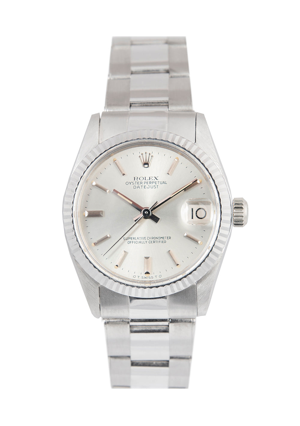 Rolex Datejust Midsize 18k White Gold watch with Silver Dial, Ref: 6827