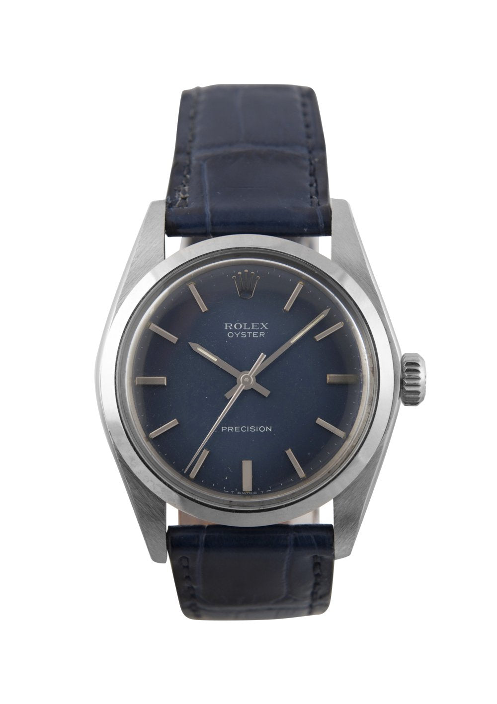 Rolex Oyster Steel Precision Watch with Blue Dial, 6426