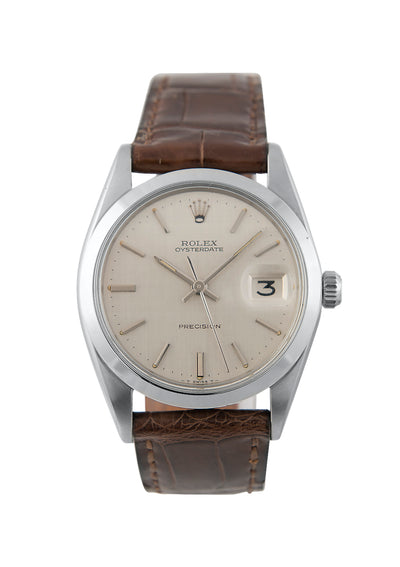 Rolex Oysterdate Steel Watch with Silver Linen Dial, 6694