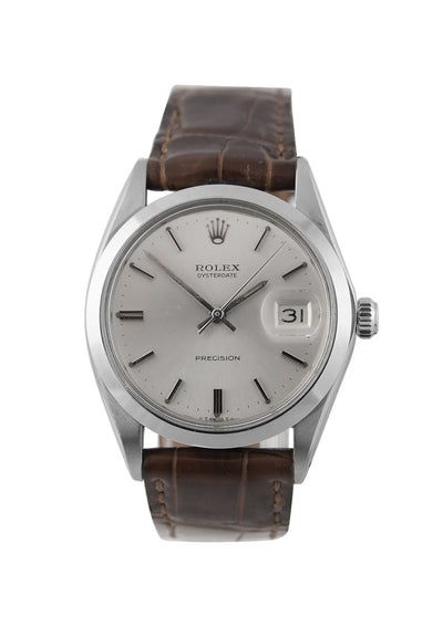 Rolex Oysterdate Steel Watch with Silver Dial, 6694