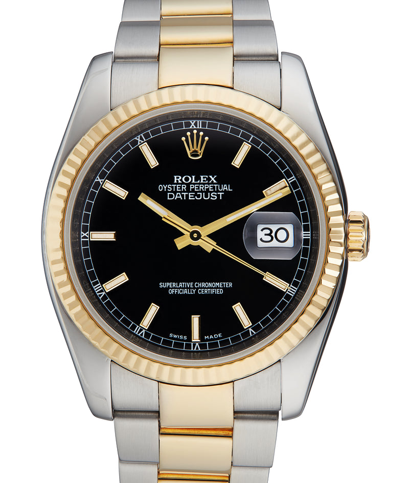 Rolex Datejust 36 in Steel & Gold, Black Dial. Ref: 116233