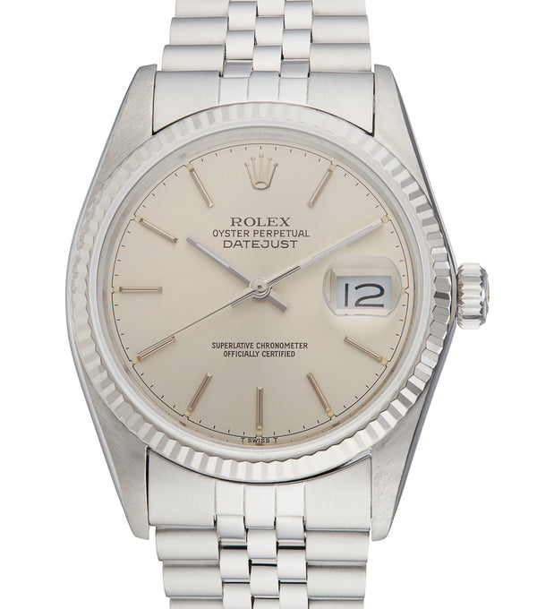 Rolex Datejust 36, Silver Baton Dial. Ref: 16014 (Papers 1988)