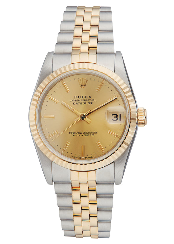 Rolex Midsize Datejust Steel & Gold, Champagne Dial. Ref: 68273 (Papers 1991)