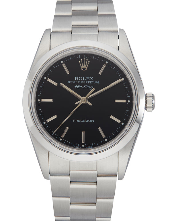 Rolex Air-King, Black Baton Dial. Ref: 14000 (Original Papers 1994)