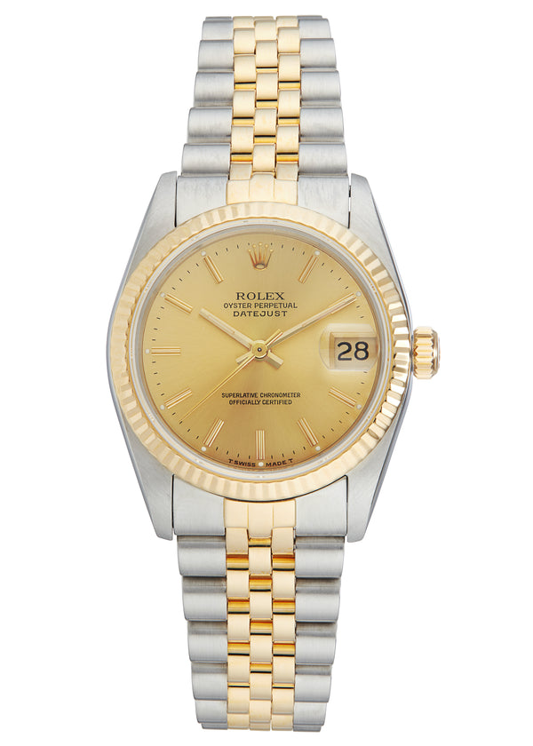 Rolex Midsize Datejust Steel & Gold, Champagne Dial. Ref: 68273 (Papers 1993)
