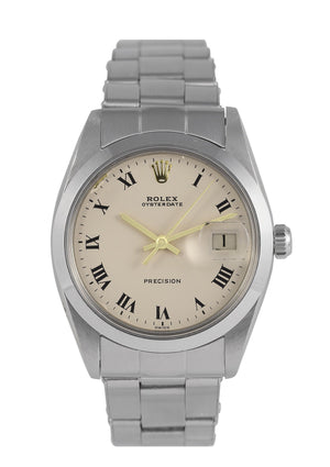 Rolex Oysterdate Watch Precision Steel with Off-White Dial, Ref: 6694