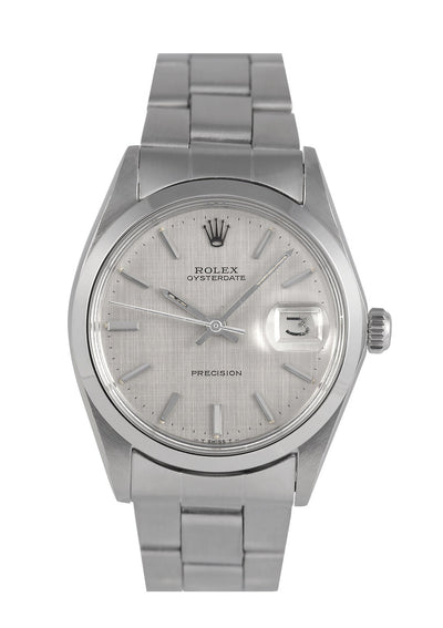 Rolex Oysterdate Watch Steel with Silver Linen Dial 6694