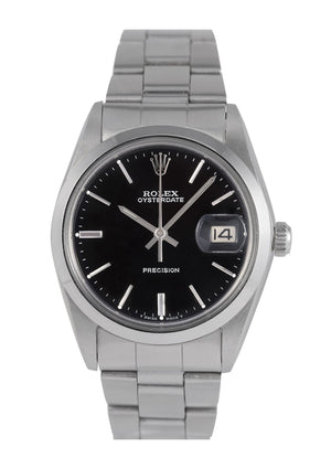 Rolex Oysterdate Watch Steel with Black Dial, Ref: 6694