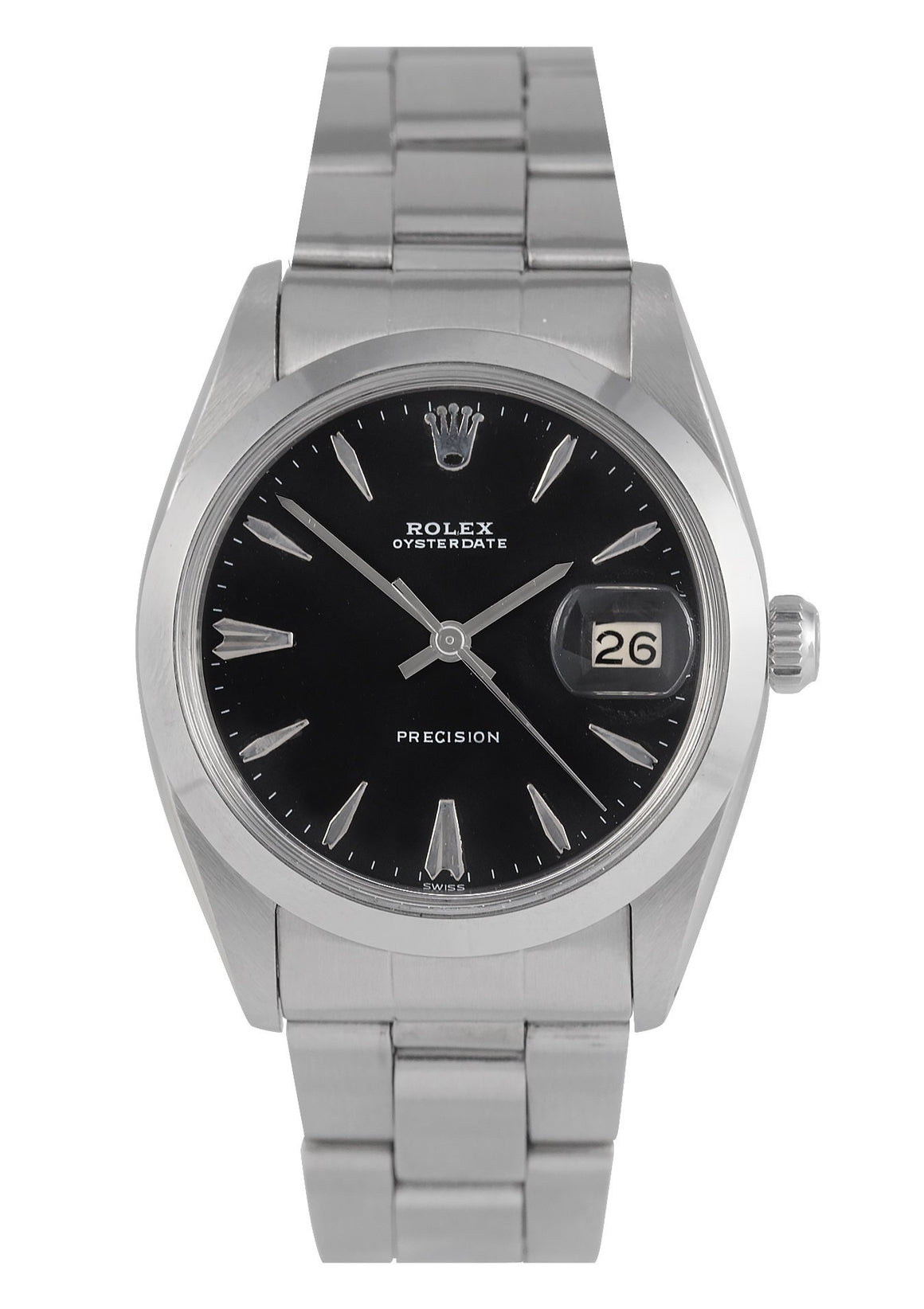 Rolex Oysterdate Precision Steel Watch with Black Dial, Ref: 6694