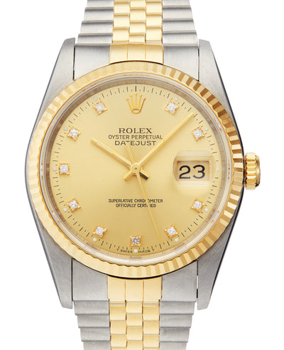 Rolex Datejust Steel & Gold with Original Diamond Dial, Ref:16233 (B&P 1994)