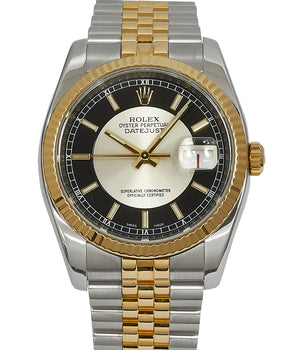 Rolex Gents Datejust 36 in Steel & Gold, Black Bullseye Dial