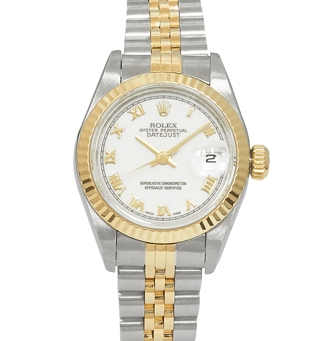 Rolex Ladies Datejust Steel & Gold, White Roman Numeral Dial. Ref: 69173 (1999)