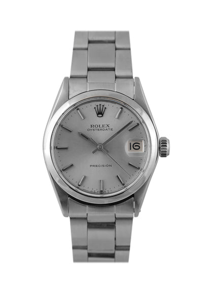 Rolex Midsize Oysterdate Steel Watch with Silver Dial Ref: 6466