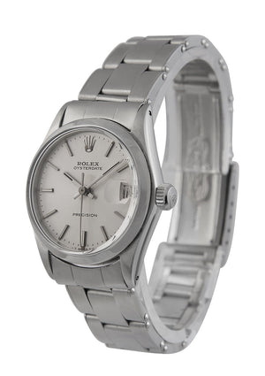 Rolex Oysterdate Midsize Steel Watch with Silver Dial, Ref: 6646