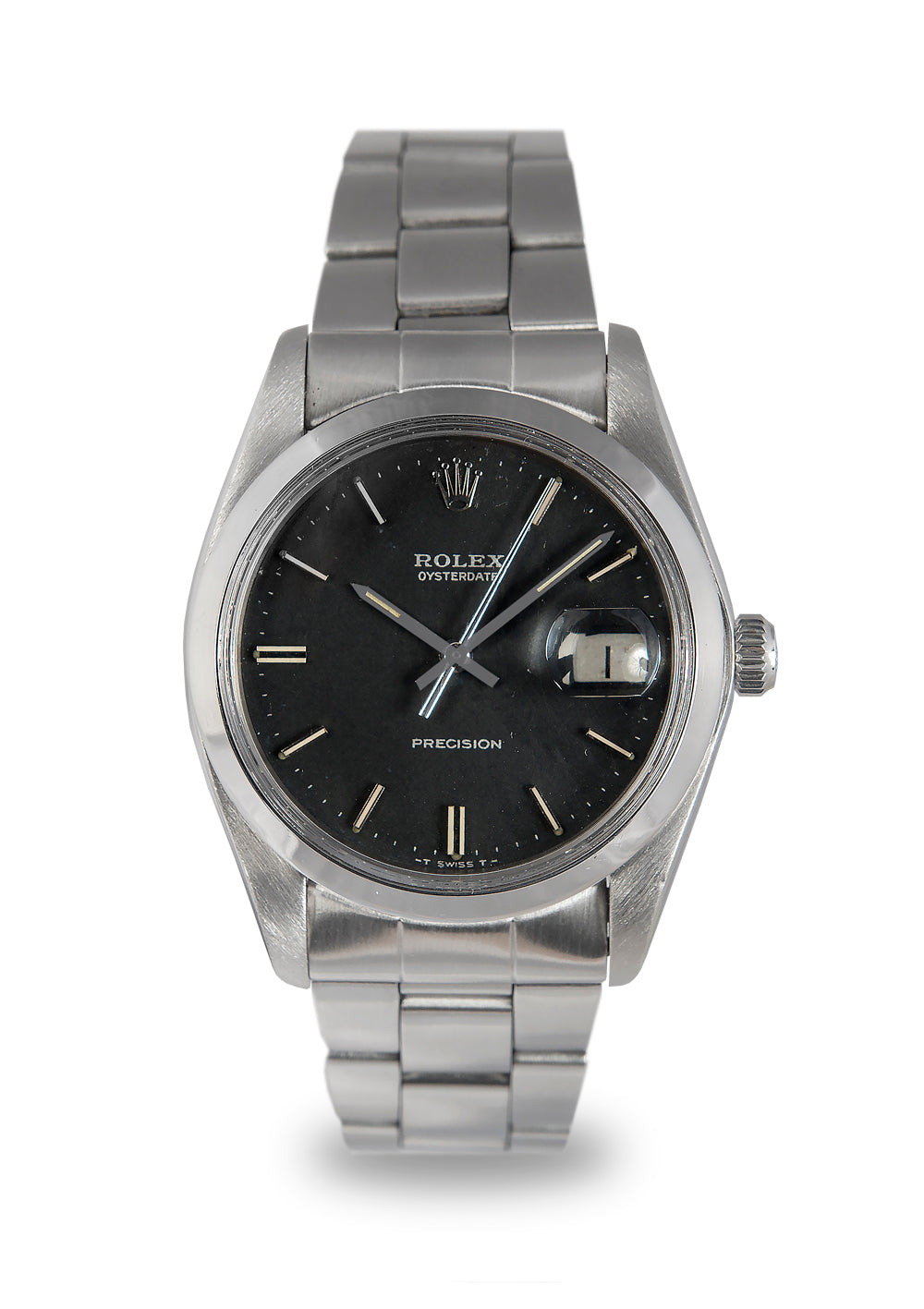 Rolex Oysterdate Steel Watch with Black Dial 6694