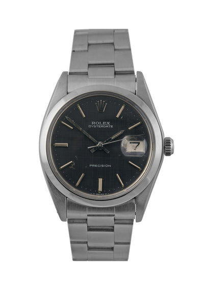 Rolex Oysterdate Steel Watch with Blue / Grey Lattice Dial 6694