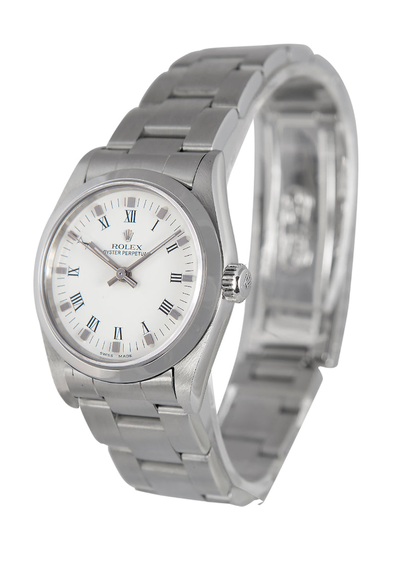 Rolex Oyster Perpetual Midsize White Roman Numeral Dial Ref: 77080