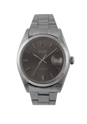 Rolex Oysterdate Steel Watch with Slate Dial 6694