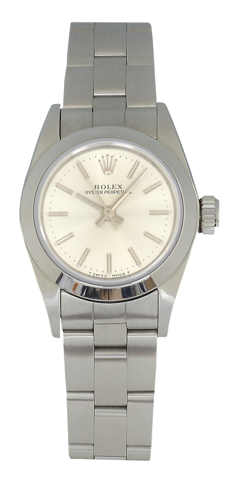Rolex Oyster Perpetual Ladies Watch Silver Dial, Ref: 67180 With Papers