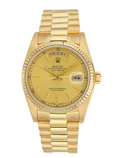Rolex 18k Day-Date Watch Champagne Dial Ref: 18038 (Papers)