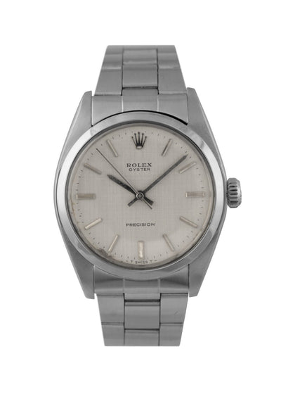 Rolex Oyster Steel Precision Watch with Silver Linen Dial, 6426