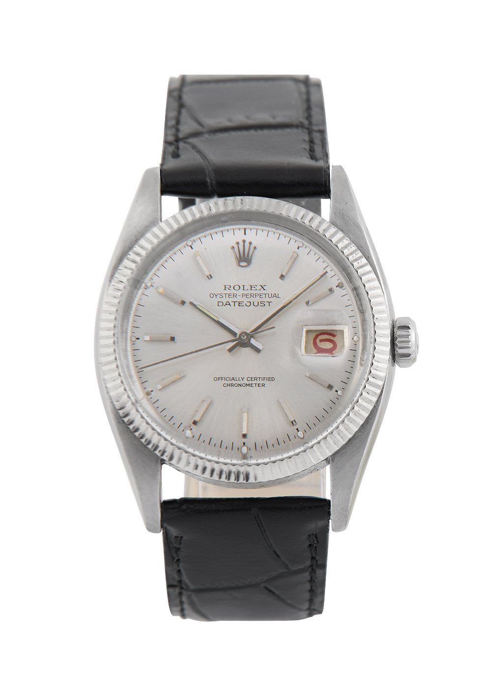 Rolex Vintage Datejust Steel Watch with Silver Roulette Date Wheel 6305