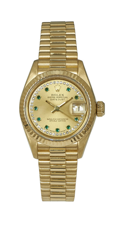Rolex Datejust Ladies 18k, Diamond/Emerald String Dial, Ref:69178.