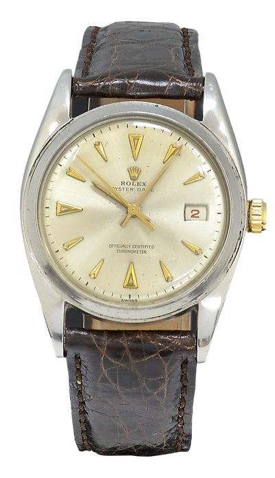 Rolex Oyster Date Watch Semi Bubble Ovettone, Ref: 6075