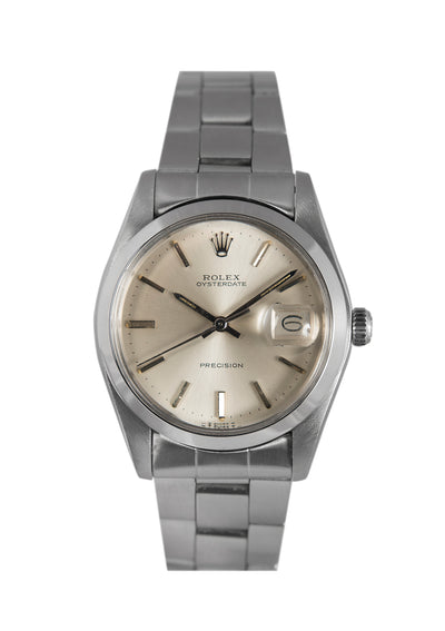 Rolex Oysterdate Steel Watch with Silver Dial 6694