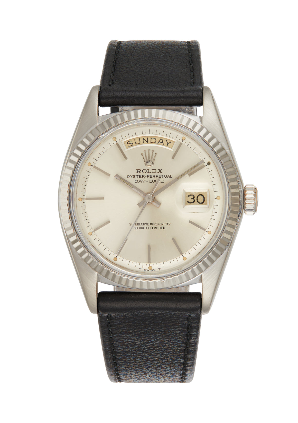 Rolex 18k White Gold Day-Date Watch Silver Step Dial Ref: 1803