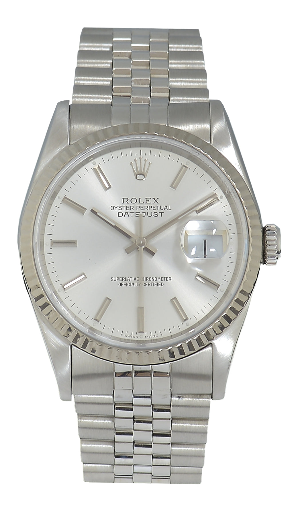 Rolex Datejust Steel Watch with Silver Dial Ref: 16234 (1996)