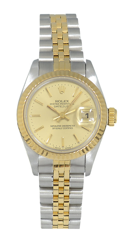 Rolex Datejust Ladies Bimetal watch with Champagne Dial, 69173 Papers