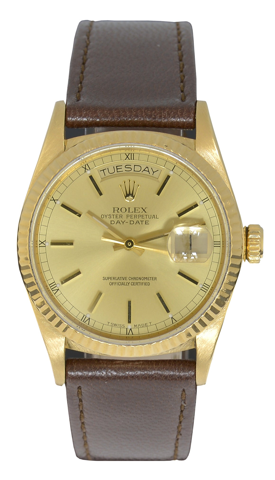 Rolex Day-Date 36, Champagne Dial, Ref: 18038 (Rolex strap & Buckle)